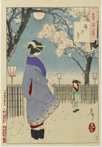 """Tsukioka Yoshitoshi: """"Der Mond von Kuruwa"""", Holzschnitt, 1886. Foto © Brooklyn Museum"""