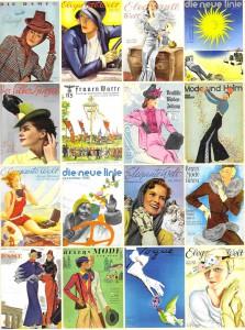 Titelblätter von Modezeitungen aus den Jahren 1930-1940. Foto © Münchner Stadtmuseum. Scan aus dem Begleitbuch