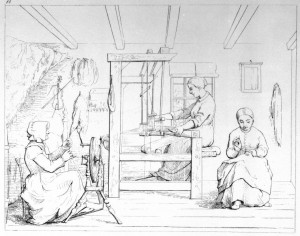 Flachsspinnen und Weben, USA, ca. 1860. © Digitale Sammlung New York Public Library