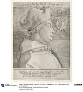 Albrecht Dürer, Porträt des Kardinals Albrecht von Brandenburg, Kupferstich, 1523. Foto © Kunstbibliothek Staatliche Museen zu Berlin