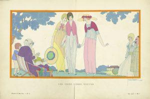Modezeichnung von Georges Lepape in der Gazette du Bon Temps, Juni 1913. Foto © Kunstbibliothek Staatliche Museen zu Berlin, Dietmar Katz