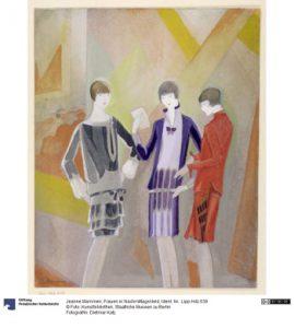 Jeanne Mammen, Frauen im Nachmittagskleid, Zeichnung mit Bleistift und Wasserfarbe um 1927. Foto © Kunstbibliothek Staatliche Museen zu Berlin, Dietmar Katz