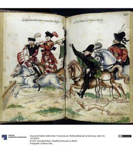 Reiterwettkampf zu Nürnberg, Federzeichnung, Heldt'sches Trachenbuch, Nürnberg ca. 1560-1580. Foto © Kunstbibliothek Staatliche Museen zu Berlin