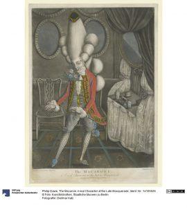 The Macaroni. A real Character at the Late Masquerade, Philip Dawe, 1773, Karikatur. Foto © Kunstbibliothek der Staatlichen Museen zu Berlin, Dietmar Katz