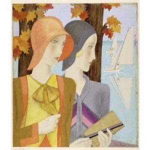 """Marie Louise Mammen, Zeichnung """"Frauen in Reiseemsembles"""", um 1928. Foto © Kunstbibliothek der Staatlichen Museen zu Berlin - Preußischer Kulturbesitz, Dietmar Katz"""